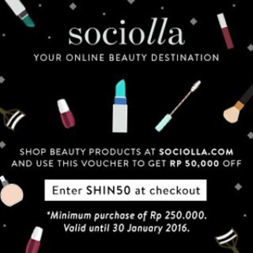 """<div class=""""photoCaption"""">your new year's new beauty stuff must be from @sociolla , get the IDR 50.000 off with using SHIN50 as your voucher code.<br /> <br /> let's celebrate this elated season with beautifying our selves !!! :*  <a class=""""pink-url"""" target=""""_blank"""" href=""""http://m.id.clozette.co/search/query?term=Indonesianbeautyblogger&siteseach=Submit"""">#Indonesianbeautyblogger</a>  <a class=""""pink-url"""" target=""""_blank"""" href=""""http://m.id.clozette.co/search/query?term=clozetteid&siteseach=Submit"""">#clozetteid</a>  <a class=""""pink-url"""" target=""""_blank"""" href=""""http://m.id.clozette.co/search/query?term=makeup&siteseach=Submit"""">#makeup</a>  <a class=""""pink-url"""" target=""""_blank"""" href=""""http://m.id.clozette.co/search/query?term=skincare&siteseach=Submit"""">#skincare</a>  <a class=""""pink-url"""" target=""""_blank"""" href=""""http://m.id.clozette.co/search/query?term=beauty&siteseach=Submit"""">#beauty</a>  <a class=""""pink-url"""" target=""""_blank"""" href=""""http://m.id.clozette.co/search/query?term=sociolla&siteseach=Submit"""">#sociolla</a></div>"""