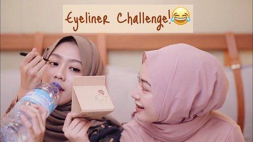 "<div class=""photoCaption"">Lucu banget challenge si Sari inii..EYELINER CHALLENGE UNTUK PEMULA WITH MY SISTER 