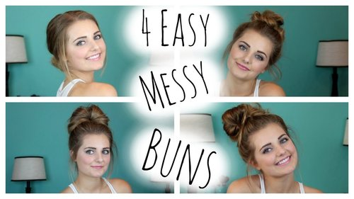 "<div class=""photoCaption"">NO HEAT HAIRSTYLES: 4 Easy Messy Buns!
