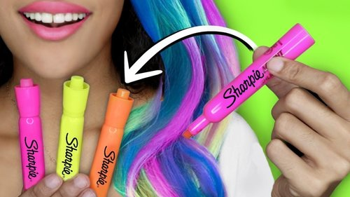 """<div class=""""photoCaption"""">How To Make DIY HAIR DYE With SCHOOL SUPPLIES!! GLOW IN THE DARK HAIR! - YouTube</div>"""